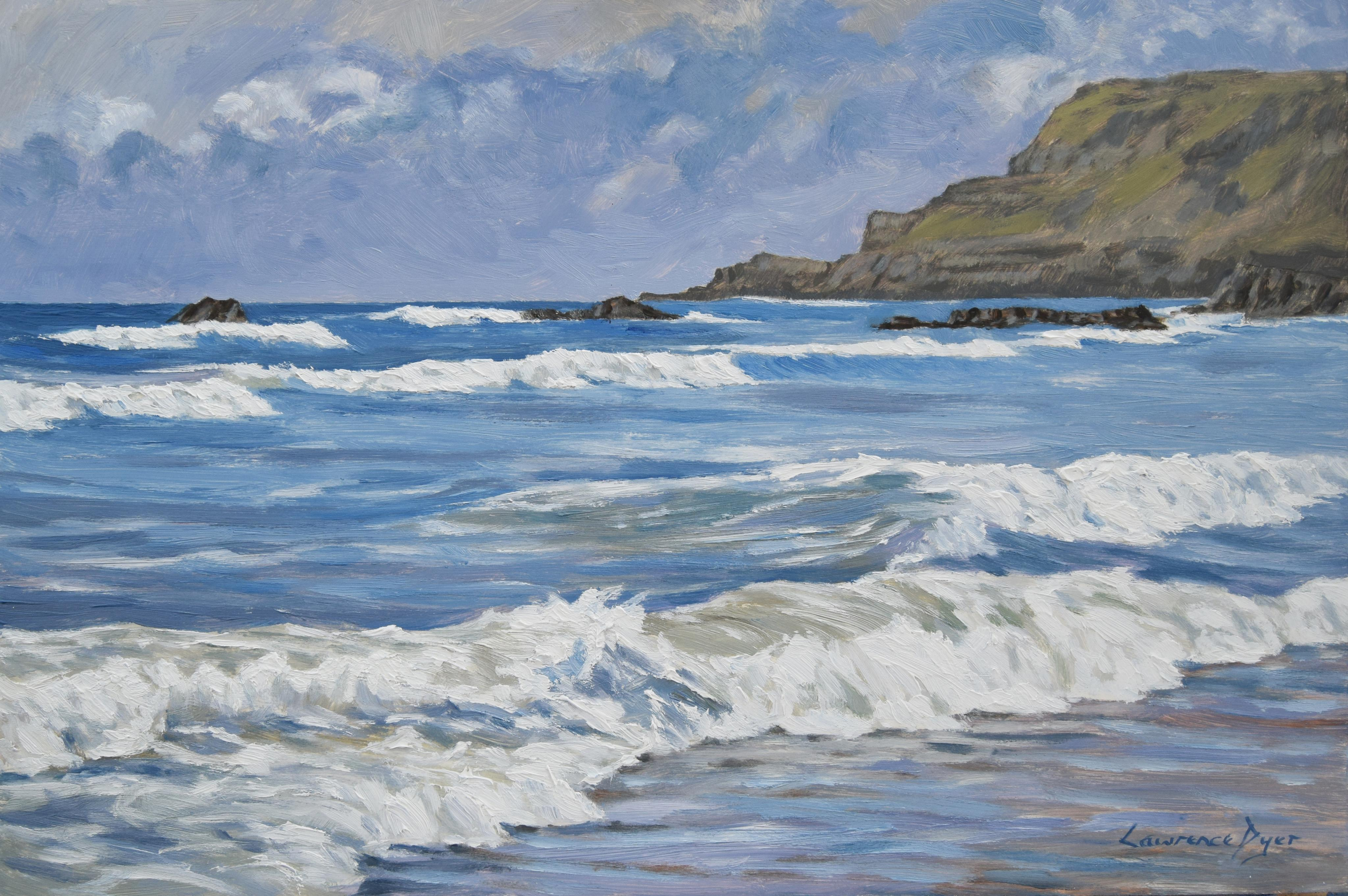 White Surf At Widemouth Bay by Lawrence Dyer